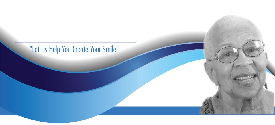 """Let Us Help You Create Your Smile""- African american woman smiling"